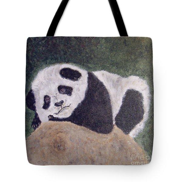 Panda Bear Sleepy Baby Cub Tote Bag by Ella Kaye Dickey