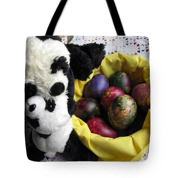 Pandas Celebrating Easter Tote Bag by Ausra Huntington nee Paulauskaite