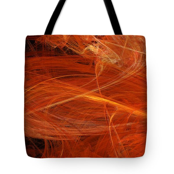Panel 1 Of 5 Dancing Flames 2 H Pentaptych - Abstract - Fractal Art Tote Bag by Andee Design