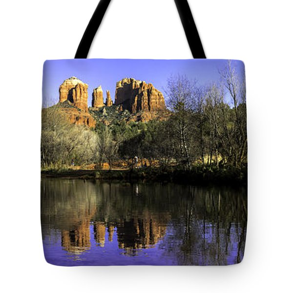 Panorama at Red Rocks Crossing in Sedona AZ Tote Bag by Teri Virbickis