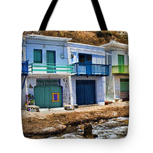 Panorama Of Tiny Colorful Fishing Huts In Milos Tote Bag by David Smith