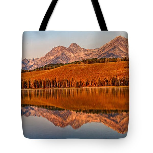 Panoramic Of Little Redfish Lake Tote Bag by Robert Bales