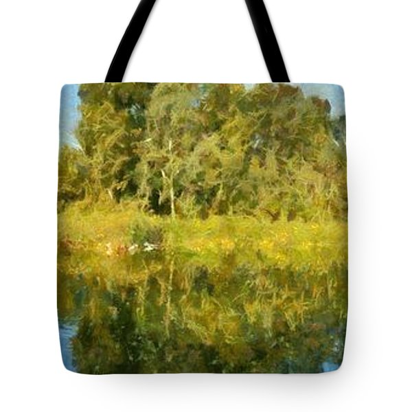 Panoramic Painting Of Ducks Lake Tote Bag by George Atsametakis