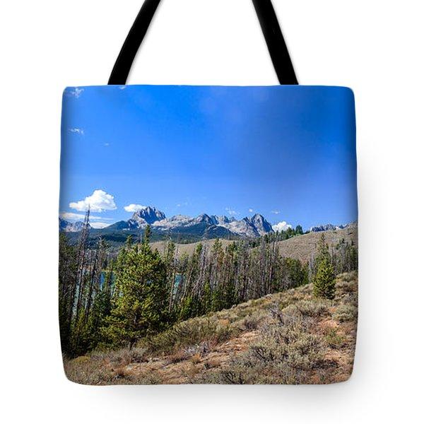Panoramic Sawtooth Range And Little Redfish Lake Tote Bag by Robert Bales