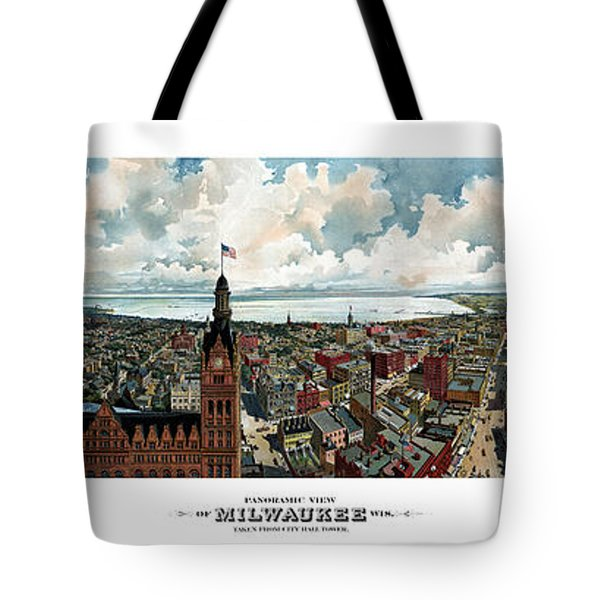 Panoramic View Of Milwaukee Wisconsin Tote Bag by War Is Hell Store