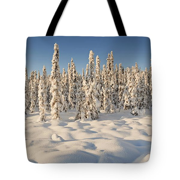Panoramic View Of Snow-covered Spruce Tote Bag by Ray Bulson