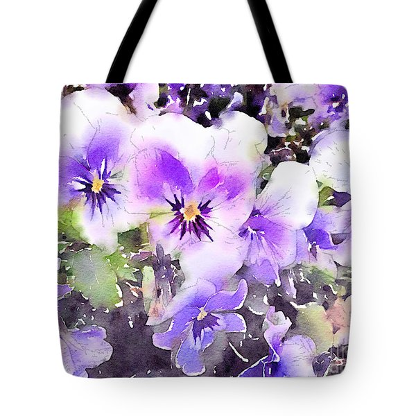 Pansies Watercolor Tote Bag by John Edwards