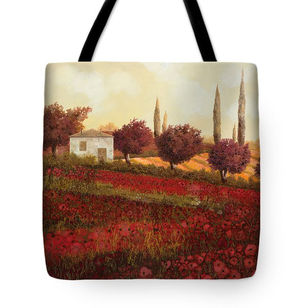 papaveri in toscana Tote Bag by Guido Borelli
