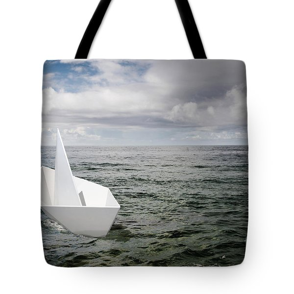 Paper Boat Tote Bag by Carlos Caetano