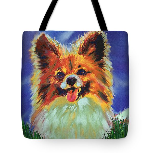 Papillion Puppy Tote Bag by Jane Schnetlage