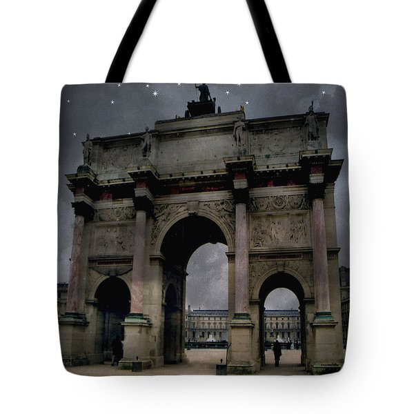 Paris Arc Du Carousel - Louvre Museum Arc De Triomphe - Starry Night Blue Paris Louvre Courtyard Tote Bag by Kathy Fornal