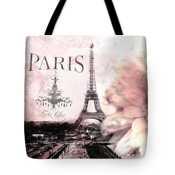 Paris Dreamy Eiffel Tower Montage - Paris Romantic Pink Sepia Eiffel Tower And Flower French Script Tote Bag by Kathy Fornal