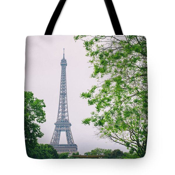 Paris Eiffel Surrounded By Trees Tote Bag by Georgia Fowler