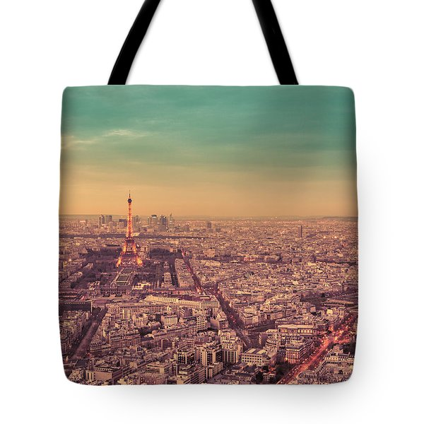 Paris - Eiffel Tower And Cityscape At Sunset Tote Bag by Vivienne Gucwa