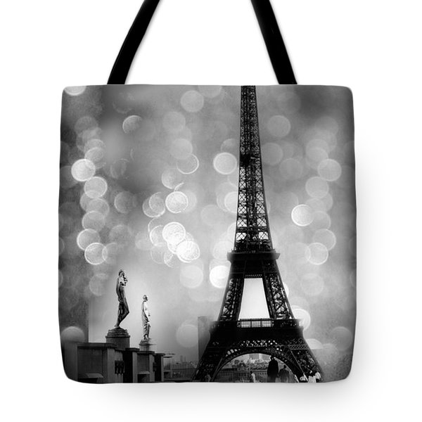 Paris Eiffel Tower Surreal Black And White Photography - Eiffel Tower Bokeh Surreal Fantasy Night  Tote Bag by Kathy Fornal