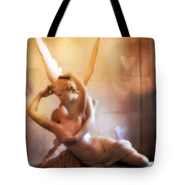Paris Eros And Psyche Louvre Museum- Musee Du Louvre Angel Sculpture - Paris Angel Art Sculptures Tote Bag by Kathy Fornal