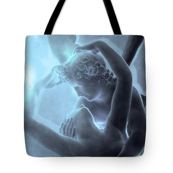 Paris Eros And Psyche - Louvre Sculpture - Paris Romantic Angel Art Photography Tote Bag by Kathy Fornal