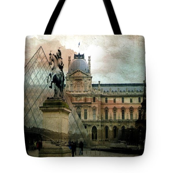 Paris Louvre Museum Pyramid Architecture - Eiffel Tower Photo Montage Of Paris Landmarks Tote Bag by Kathy Fornal
