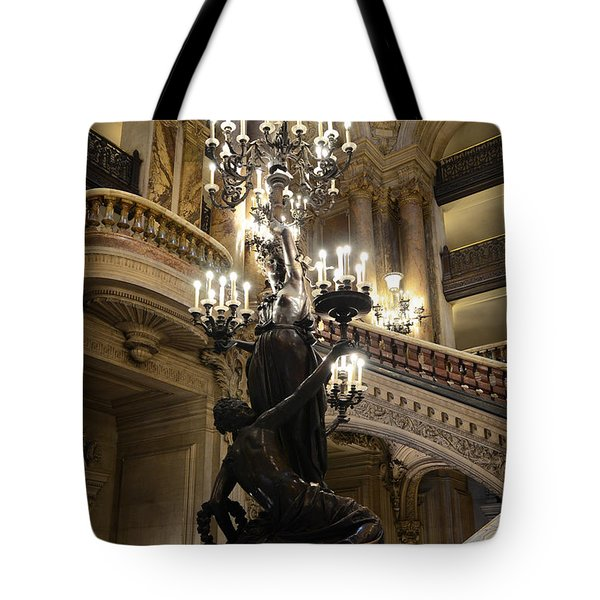 Paris Opera House Grand Staircase and Chandeliers - Paris Opera Garnier Statues and Architecture  Tote Bag by Kathy Fornal