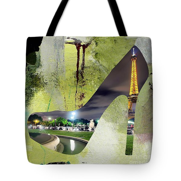 Paris Skyline In A Shoe Tote Bag by Marvin Blaine