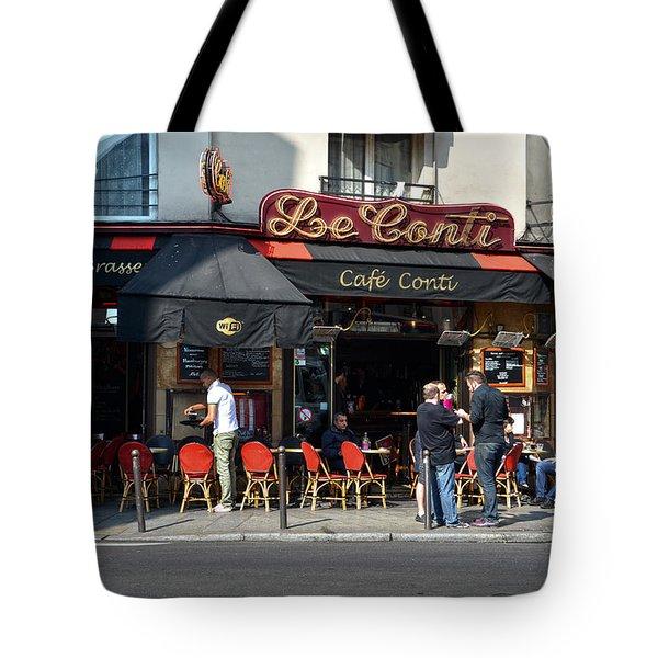 Parisian Cafe Le Conti Tote Bag by RicardMN Photography