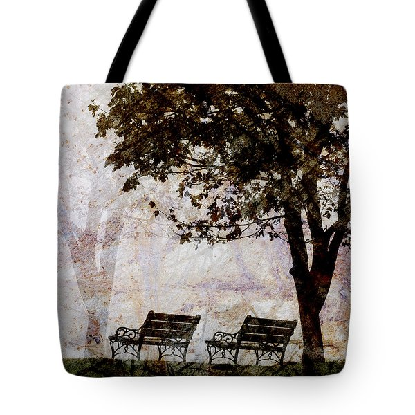 Park Benches Square Tote Bag by Carol Leigh