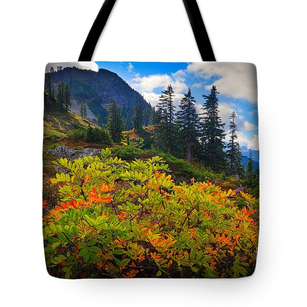 Park Butte Fall Color Tote Bag by Inge Johnsson
