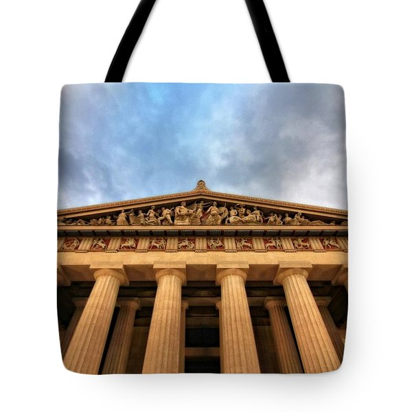 Parthenon From Below Tote Bag by Dan Sproul