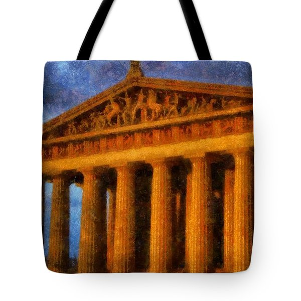 Parthenon On A Stormy Day Tote Bag by Dan Sproul