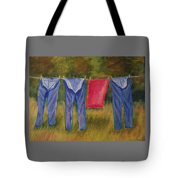 Pa's Trousers Tote Bag by Belinda Lawson