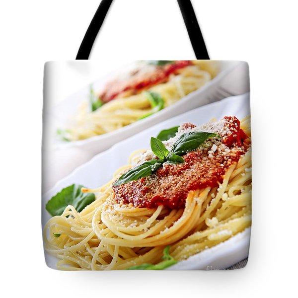 Pasta And Tomato Sauce Tote Bag by Elena Elisseeva