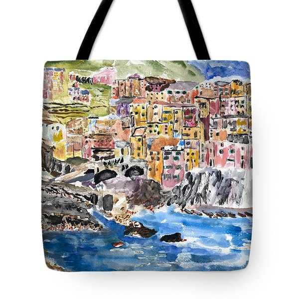 Pastel Patchwork Village Tote Bag by Michael Helfen