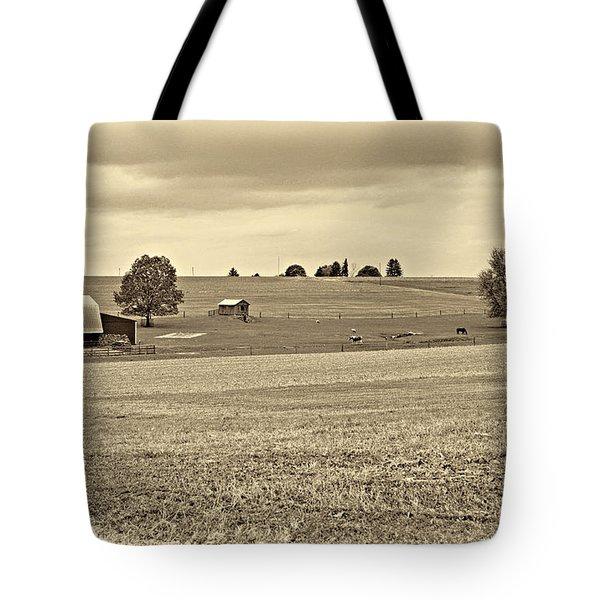 Pastoral Pennsylvania Sepia Tote Bag by Steve Harrington