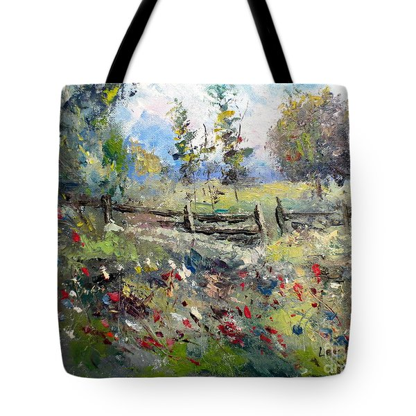 Pasture With Fence Tote Bag by Lee Piper