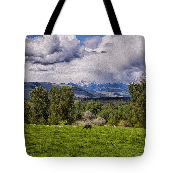 Pastures And Clouds  Tote Bag by Omaste Witkowski