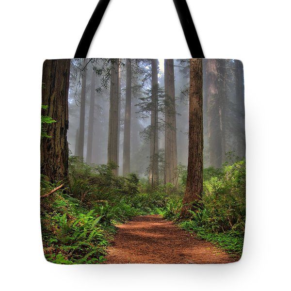 Path Thru The Redwoods Tote Bag by Michael  Ayers
