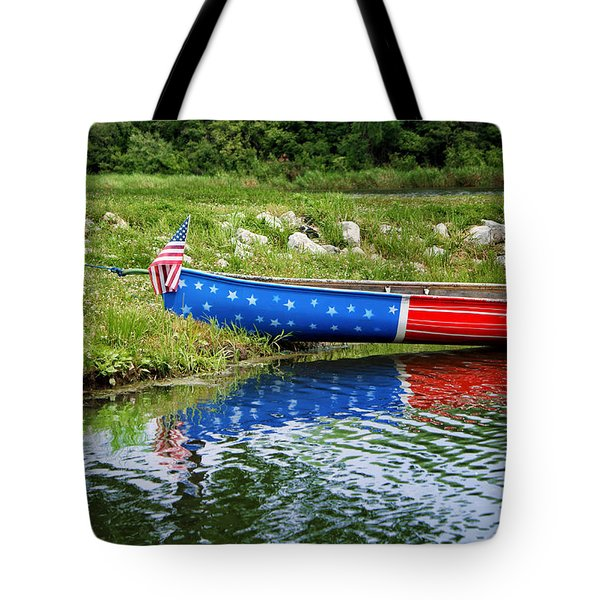 Patriotic Canoe #1 Tote Bag by Nikolyn McDonald