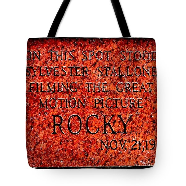 Pats Steaks - Rocky Plaque Tote Bag by Benjamin Yeager