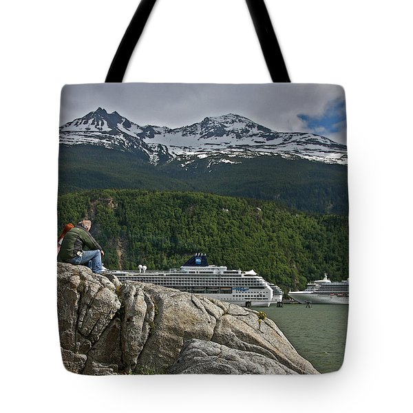 Pause in Wonder at Cruise Ships in Alaska Tote Bag by John Haldane
