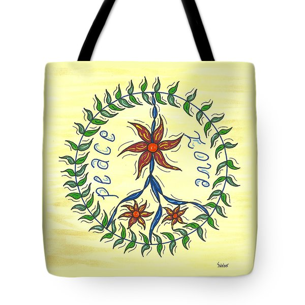 Peace And Love Tote Bag by Susie WEBER