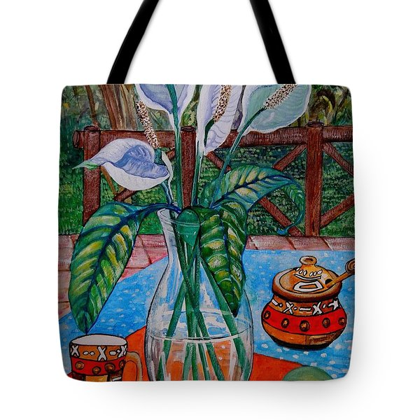 Peace Lilies On The Patio Tote Bag by Caroline Street