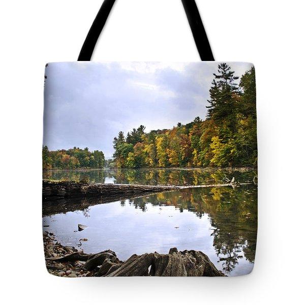 Peaceful Autumn Lake Tote Bag by Christina Rollo
