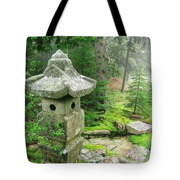 Peaceful Japanese Garden On Mount Desert Island Tote Bag by Edward Fielding