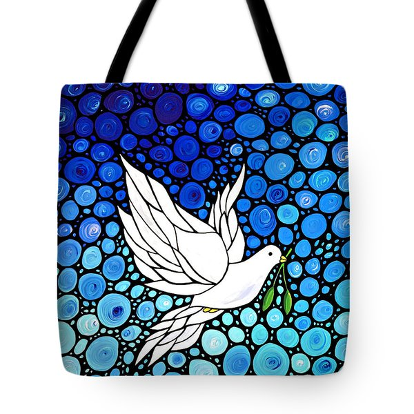 Peaceful Journey - White Dove Peace Art Tote Bag by Sharon Cummings