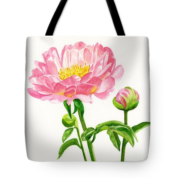 Peach Colored Peony with Buds Tote Bag by Sharon Freeman