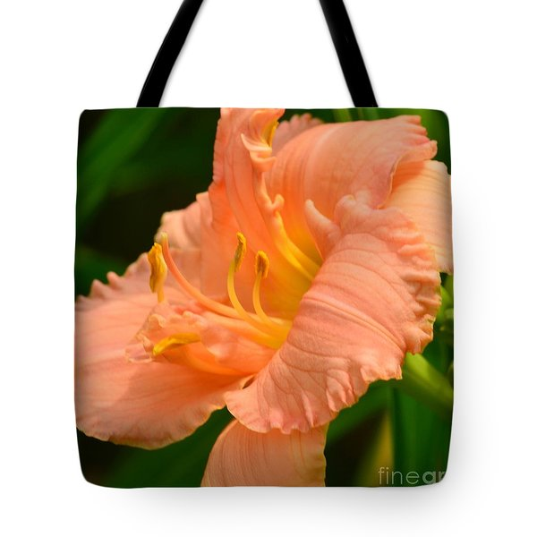 Peach Day Lilly Tote Bag by Kathleen Struckle