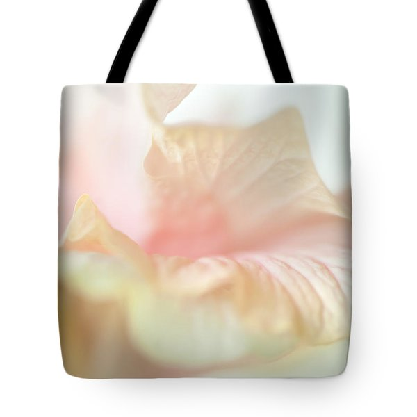 Peach Delicacy. Hibiscus Macro Tote Bag by Jenny Rainbow