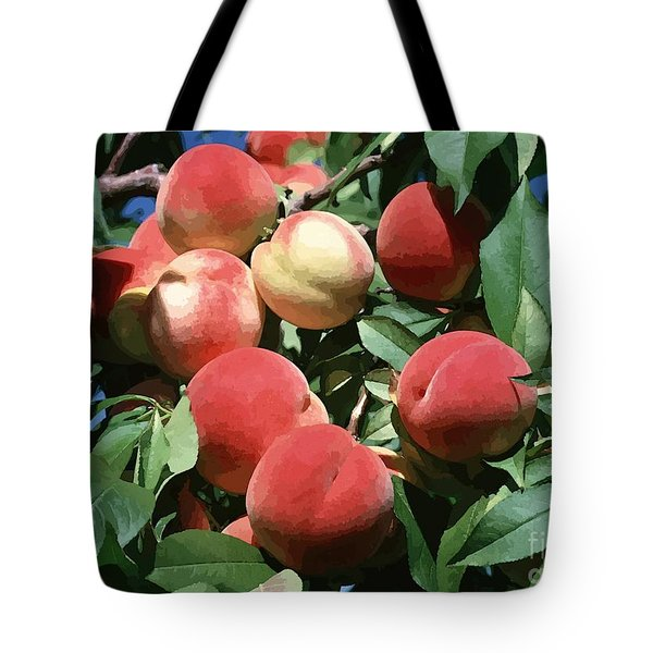 Peaches On Tree Tote Bag by Lanjee Chee