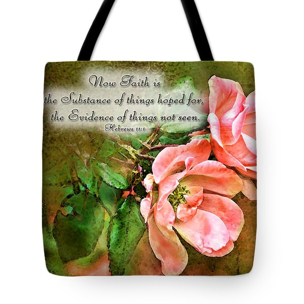 Peachy Keen With Verse  Tote Bag by Debbie Portwood