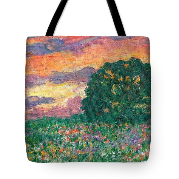 Peachy Sunset Tote Bag by Kendall Kessler